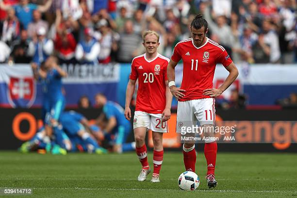 Gareth Bale of Wales reacts after Slovakia scored a goal to make the score 11 during the UEFA EURO 2016 Group B match between Wales and Slovakia at...