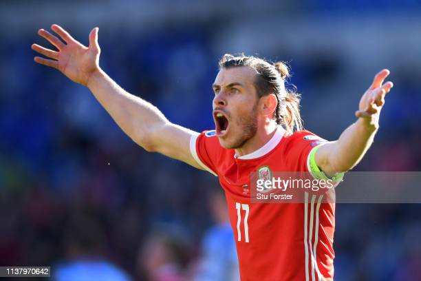 Gareth Bale of Wales reacts during the 2020 UEFA European Championships group E qualifying match between Wales and Slovakia at Cardiff City Stadium...