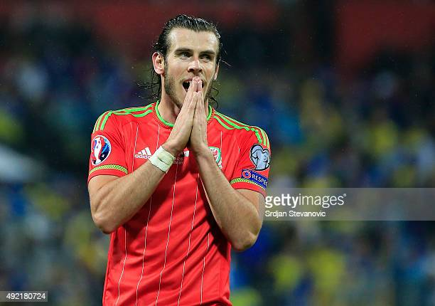 Gareth Bale of Wales reacts during the Euro 2016 qualifying football match between Bosnia and Herzegovina and Wales at the Stadium Bilino Polje in...