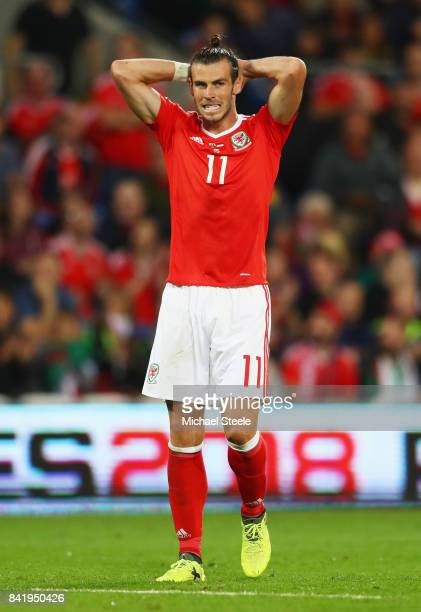 Gareth Bale of Wales reacts during the FIFA 2018 World Cup Qualifier between Wales and Austria at Cardiff City Stadium on September 2 2017 in Cardiff...