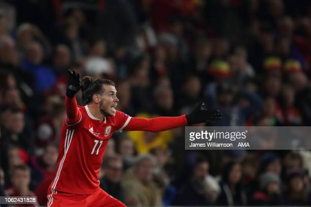 Gareth Bale of Wales reacts during the UEFA Nations League B group four match between Wales and Denmark at Cardiff City Stadium on November 16 2018...