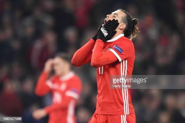 Gareth Bale of Wales reacts during the UEFA Nations League Group B match between Wales and Denmark at Cardiff City Stadium on November 16 2018 in...