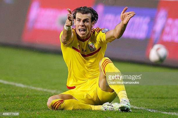 Gareth Bale of Wales reacts to a decision by referee, Pavel Kralovec of Czech Republic during the Group B UEFA European Championship 2016 Qualifier...