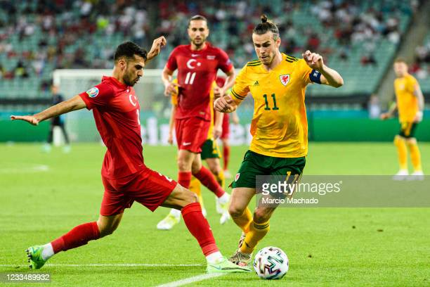 Gareth Bale of Wales receives a foul inside the penalty area from Mehmet Zeki Celik of Turkey during the UEFA Euro 2020 Championship Group A match...