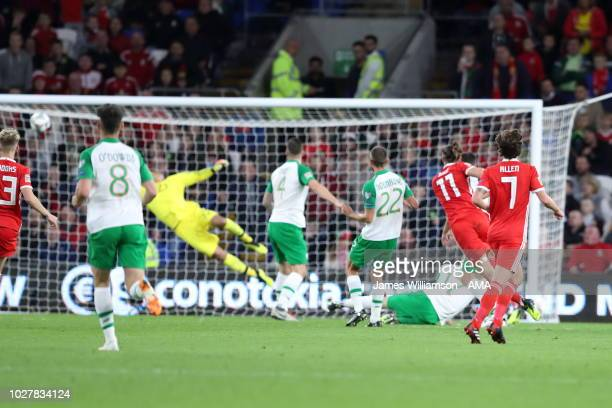 Gareth Bale of Wales scores a goal to make it 20 during the UEFA Nations League B group four match between Wales and Irland at Cardiff City Stadium...