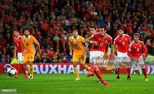Gareth Bale of Wales scores his sides fourth goal from the penalty spot during the 2018 FIFA World Cup Qualifier Group D match between Wales and...