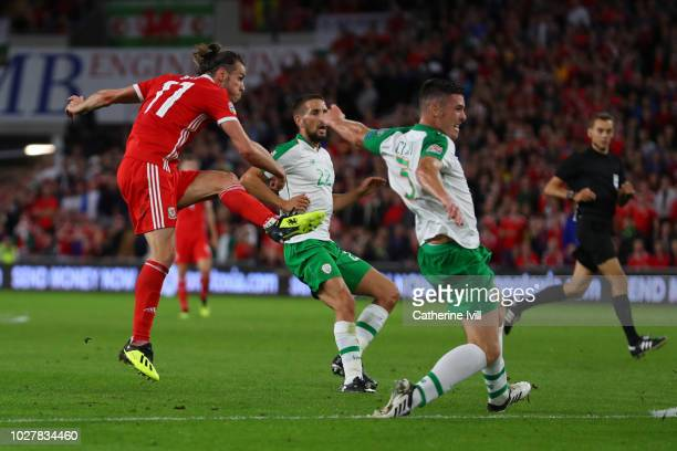 Gareth Bale of Wales scores his team's second goal during the UEFA Nations League B group four match between Wales and Republic of Ireland at Cardiff...