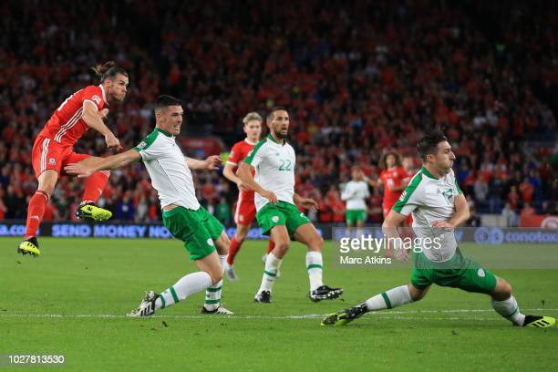 Gareth Bale of Wales scores their 2nd goal during the UEFA Nations League B group four match between Wales and Ireland at Cardiff City Stadium on...