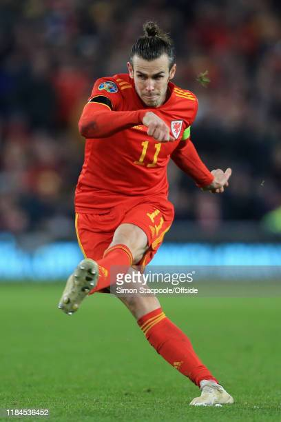 Gareth Bale of Wales shoots during the UEFA Euro 2020 Qualifier between Wales and Hungary at Cardiff City Stadium on November 19, 2019 in Cardiff,...