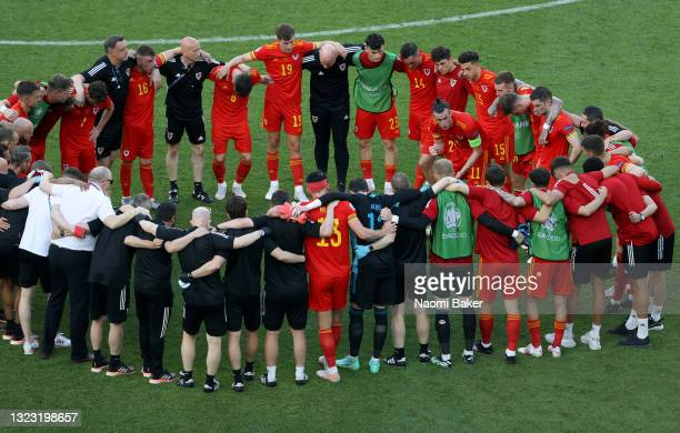 Gareth Bale of Wales speaks to the team following the UEFA Euro 2020 Championship Group A match between Wales and Switzerland at the Baku Olympic...