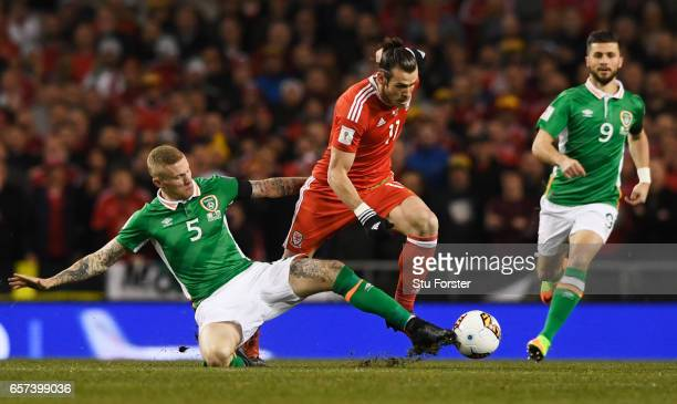 Gareth Bale of Wales takes on James McClean of the Republic of Ireland during the FIFA 2018 World Cup Qualifier between Republic of Ireland and Wales...