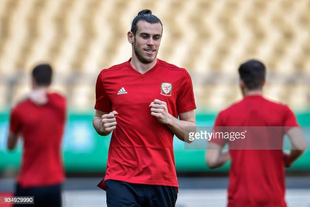 Gareth Bale of Wales takes part in a training session before the China Cup International Football Championship in Nanning in China's southern Guangxi...