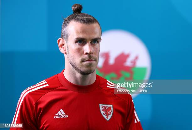 Gareth Bale of Wales walks out for the warm up prior to the UEFA Euro 2020 Championship Group A match between Turkey and Wales at Baku Olimpiya...