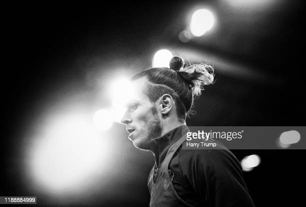 Gareth Bale of Wales warms up prior to kick off during the UEFA Euro 2020 qualifier between Wales and Hungary so at Cardiff City Stadium on November...
