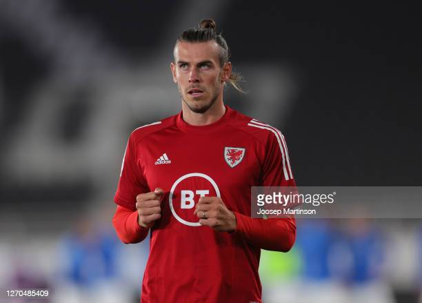 Gareth Bale of Wales warms up prior to the UEFA Nations League group stage match between Finland and Wales at Helsingin Olympiastadion on September...