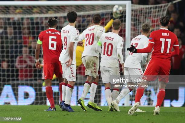 Gareth Bale of Wales watches Kasper Schmeichel of Denmark save his free kick during the UEFA Nations League B group four match between Wales and...