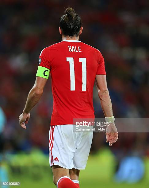 Gareth Bale of Wales wearing the captains armband during the 2018 FIFA World Cup Group D qualifying match between Wales and Moldova at Cardiff City...