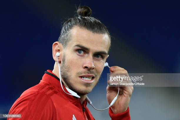 Gareth Bale of Wales wears earphones ahead of the UEFA Nations League B Group Four match between Wales and Denmark at Cardiff City Stadium on...