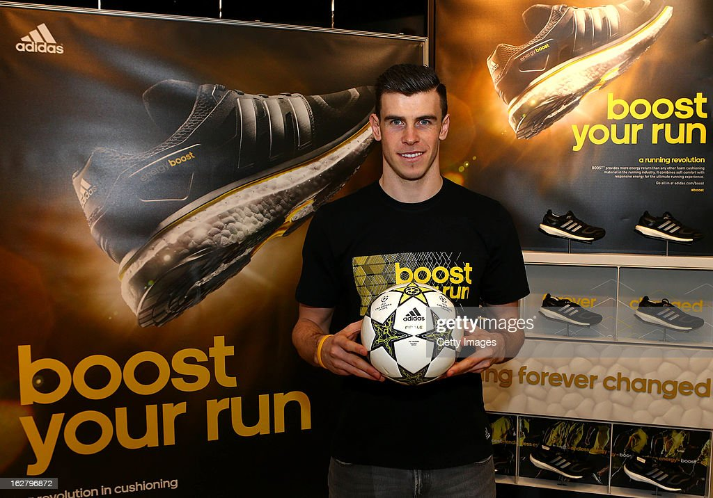 Gareth Bale poses during the adidas boost launch at the adidas store on Oxford Street on February 27, 2013 in London, England.