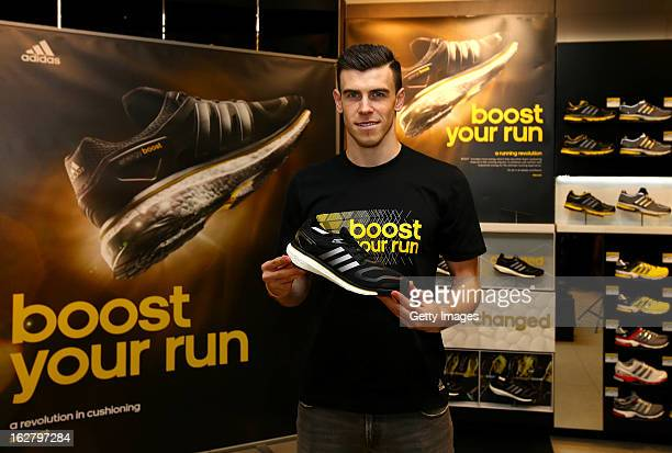 Gareth Bale poses during the adidas boost launch at the adidas store on Oxford Street on February 27 2013 in London England