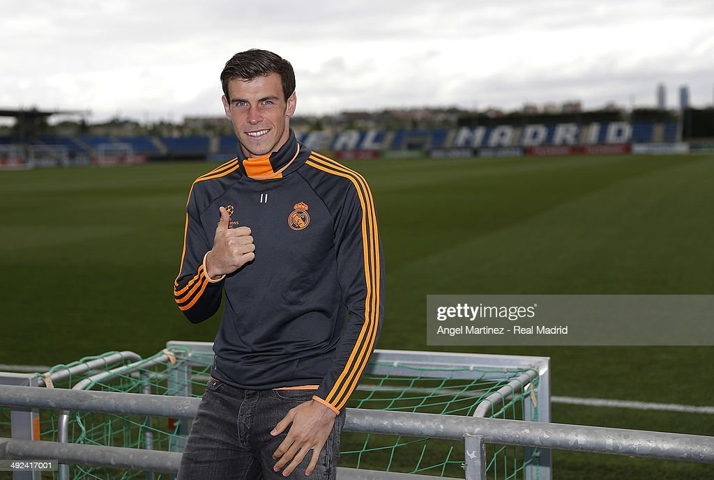 Gareth Bale poses for a photo during the Real Madrid media day, ahead of the UEFA Champions League final against Club Atletico de Madrid, at Valdebebas Sport City on May 20, 2014 in Madrid, Spain.