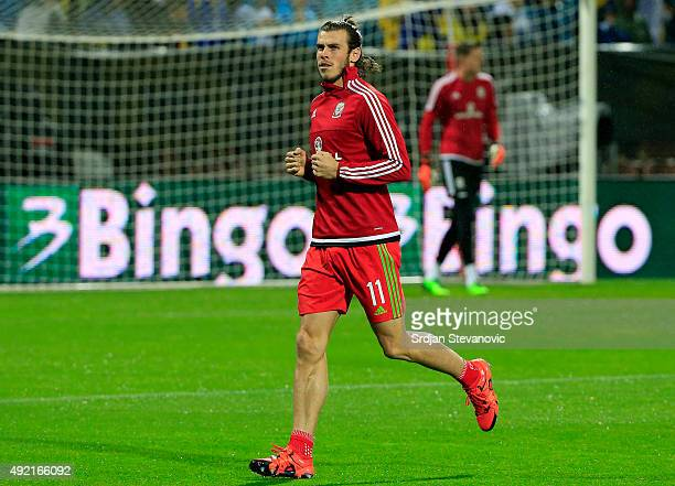 Gareth Bale prepares for the match ahead of the Euro 2016 qualifying football match between Bosnia and Herzegovina and Wales at the Stadium Bilino...