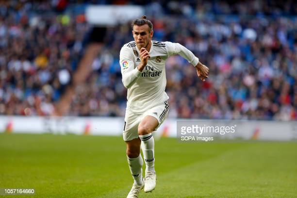 Gareth Bale seen in action during the La Liga match between Real Madrid and Real Valladolid at the Estadio Santiago Bernabéu Final score Real Madrid...