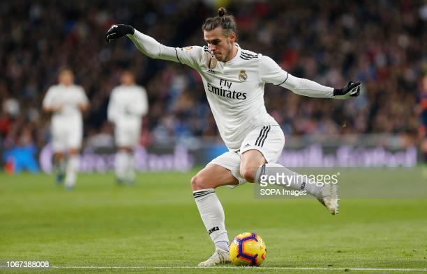 Gareth Bale seen in action during the La Liga match between Real Madrid and Valencia CF at the Estadio Santiago Bernabéu in Madrid. .