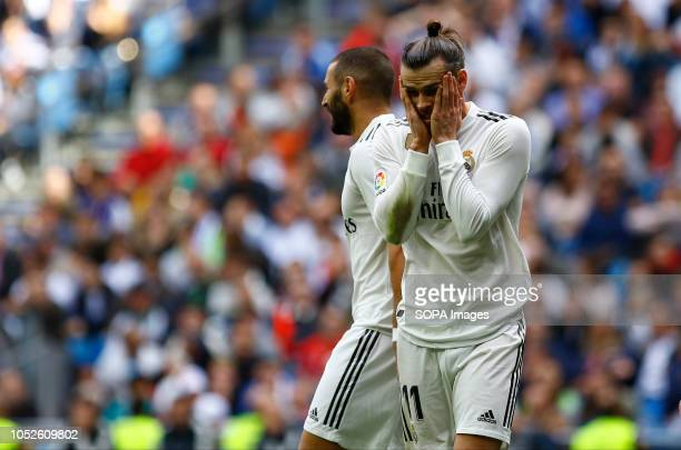 Gareth Bale seen reacting during the La Liga match between Real Madrid and Levante UD at Estadio Santiago Bernabéu