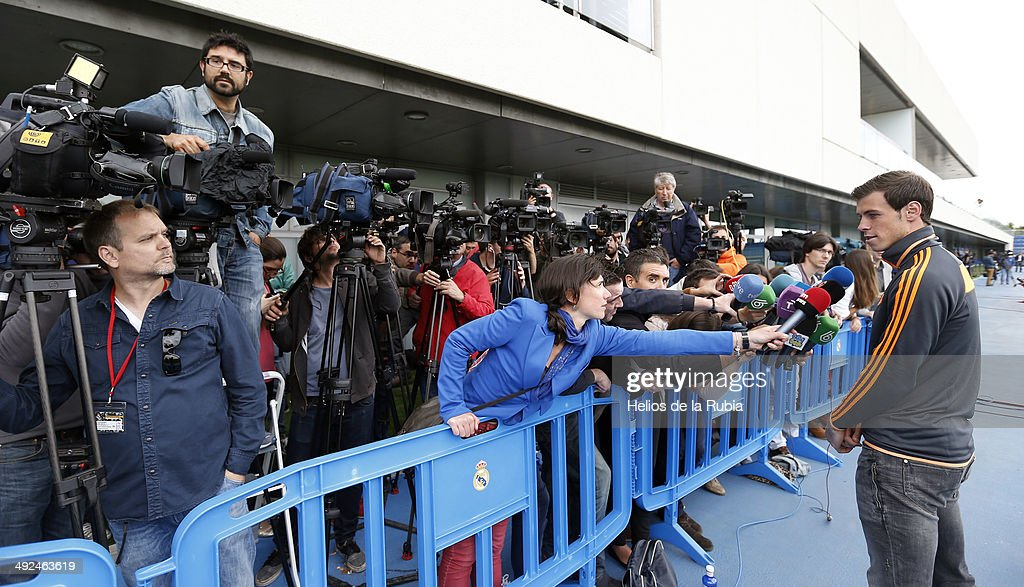 Gareth Bale talks to the media during the Real Madrid UEFA Champions League Final Media Day at Valdebebas training ground on May 20, 2014 in Madrid, Spain.