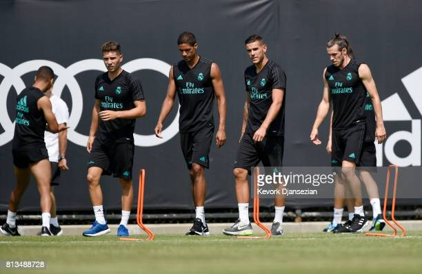 Gareth Bale Theo Hernandez and Varane and of the Real Madrid during training for Tour 2017 on the campus of UCLA July 12 in Los Angeles California