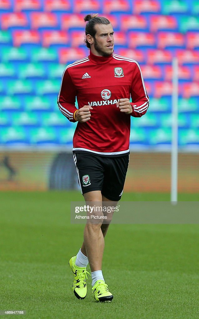 Gareth Bale warms up prior to the Wales training session, ahead of the UEFA Euro 2016 qualifier against Israel, at the Cardiff City Stadium on September 5, 2015 in Cardiff, Wales.