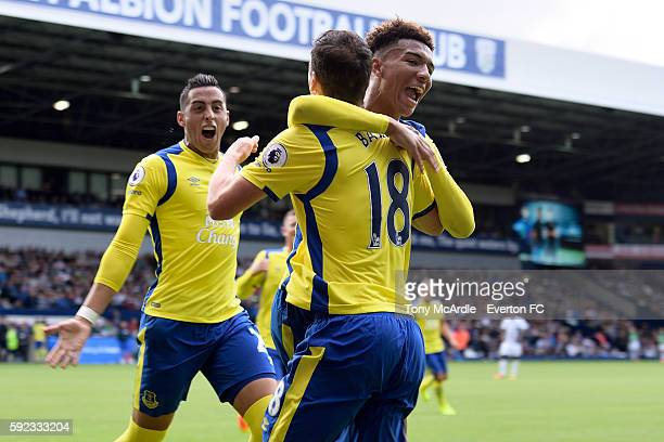 Gareth Barry celebrates his goal with Mason Holgate and Ramiro Funes Mori during the Premier League match between West Bromwich Albion and Everton on...