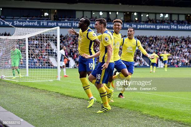 Gareth Barry celebrates his goal with Romelu Lukaku Mason Holgate and Ramiro Funes Mori during the Premier League match between West Bromwich Albion...