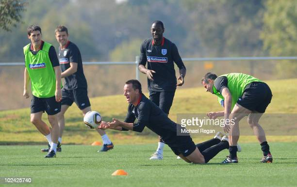 Gareth Barry John Terry Ledley King and Jamie Carragher play a handball game during the England training session at the Royal Bafokeng Sports Campus...