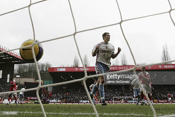 Gareth Barry of Aston Villa celebrates scoring from the penalty spot against Scott Carson the Charlton Athletic goalkeeper during the Barclays...