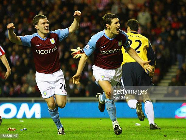 Gareth Barry of Aston Villa celebrates with Craig Gardner after scoring the secong goal for Aston Villa during the Barclays Premier League match...