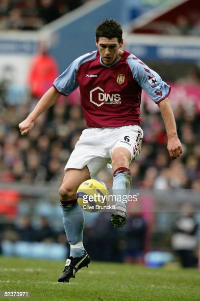 Gareth Barry of Aston Villa controls the ball during the Barclays Premiership match between Aston Villa and Everton at Villa Park on February 26 2005...