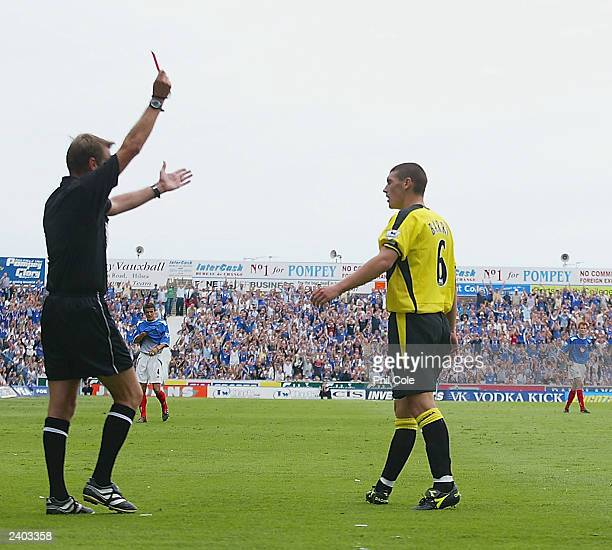 Gareth Barry of Aston Villa is shown the red card during the FA Barclaycard Premiership match between Portsmouth and Aston Villa at Fratton Park on...