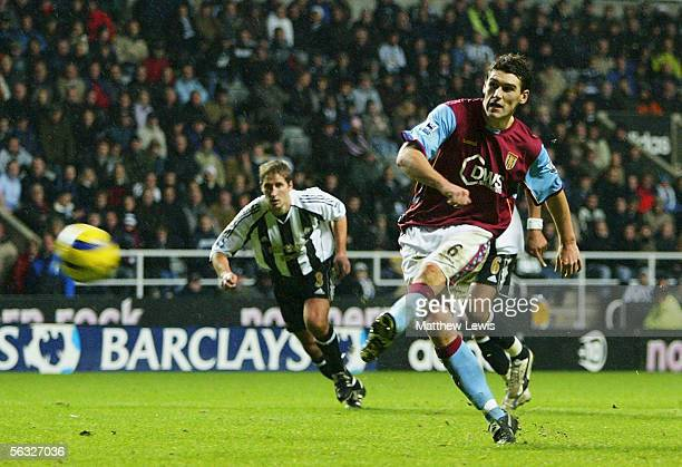 Gareth Barry of Aston Villa misses from the penalty spot during the Barclays Premiership match between Newcastle United and Aston Villa at StJames'...