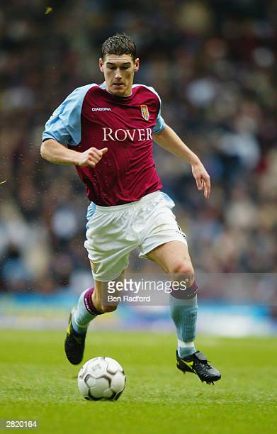 Gareth Barry of Aston Villa running with the ball during the Premiership match between Aston Villa and Wolverhampton Wanderers on December 14 2003 at...