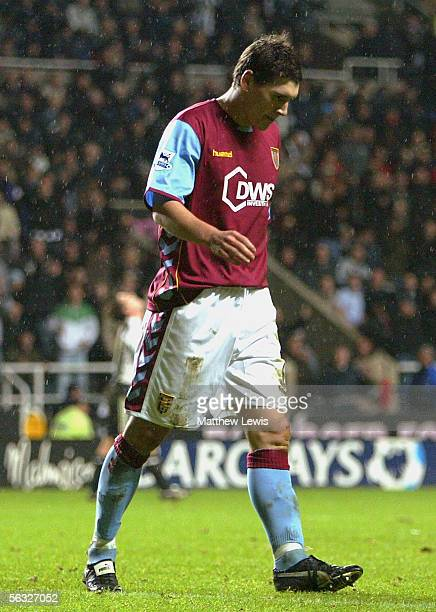 Gareth Barry of Aston Villa shows his disappointment after missing from the penalty spot during the Barclays Premiership match between Newcastle...