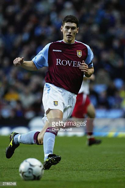 Gareth Barry of Aston Villa watches the ball during the FA Barclaycard Premiership match between Aston Villa and Southampton on November 29 2003 at...
