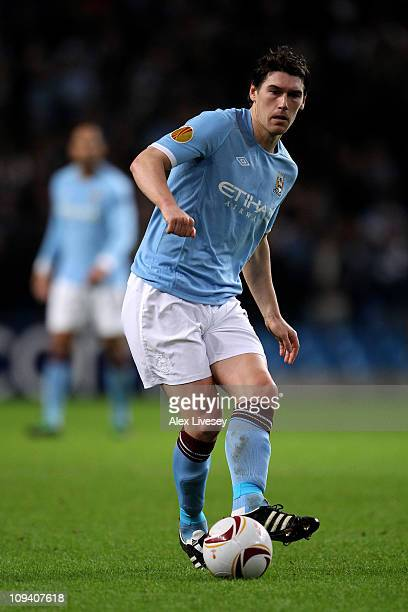 Gareth Barry of City in action during the UEFA Europa League round of 32 second leg match between Manchester City and Aris Saloniki at City of...