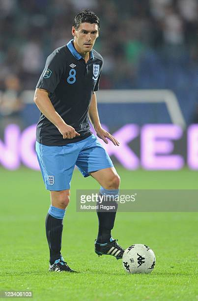 Gareth Barry of England in action during the EURO 2012 group G qualifying match between Bulgaria and England at the Vasil Levski National Stadium on...