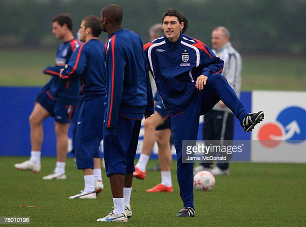 Gareth Barry of England warms up during an England training session at London Colney Training Ground on November 20 2007 in London England