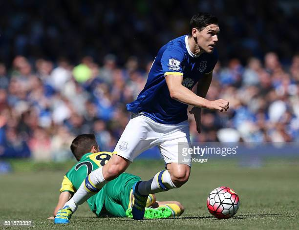 Gareth Barry of Everton and Gary O'Neil of Norwich City compete for the ball during the Barclays Premier League match between Everton and Norwich...