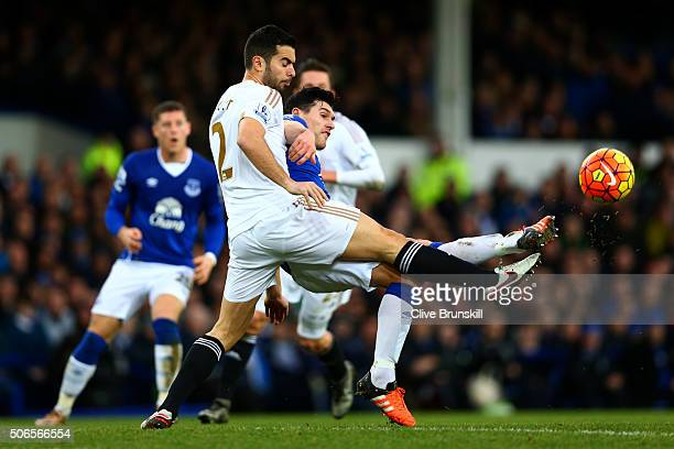 Gareth Barry of Everton battles for the ball with Jordi Amat of Swansea City during the Barclays Premier League match between Everton and Swansea...