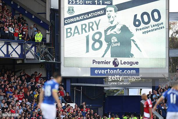 Gareth Barry of Everton celebrates scoring during the Premier League match between Everton and Middlesbrough at Goodison Park on September 17 2016 in...