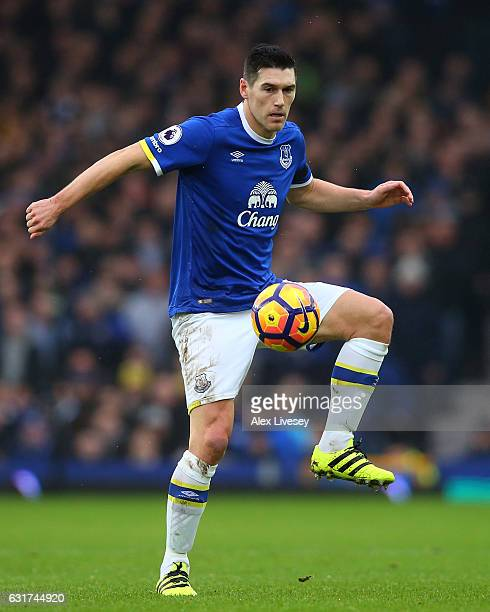 Gareth Barry of Everton controls the ball during the Premier League match between Everton and Manchester City at Goodison Park on January 15 2017 in...